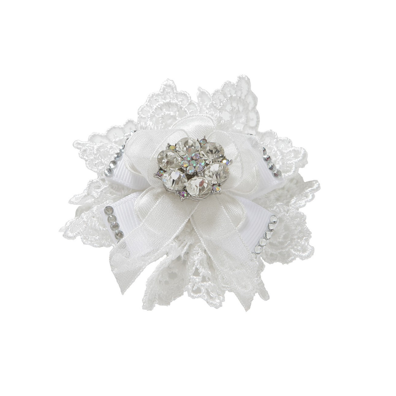juniper diamante and lace flower clip on shoe brooch