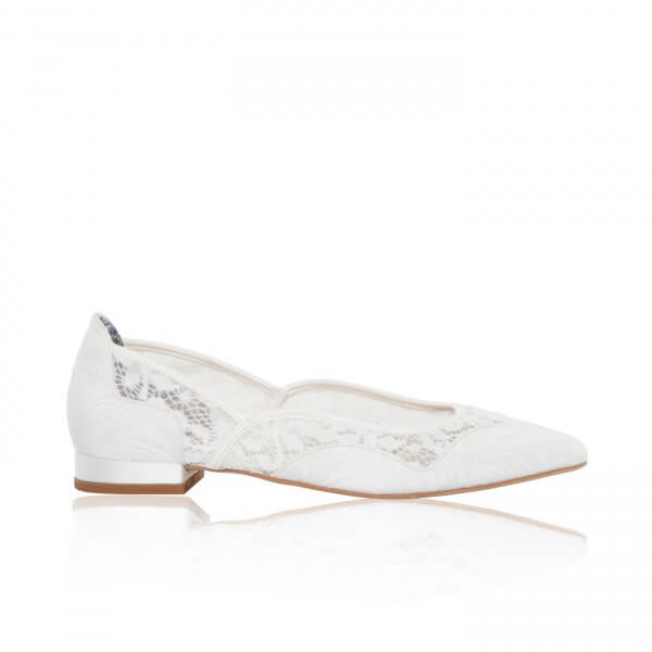 primrose ivory tapestry and lace flat bridal shoes