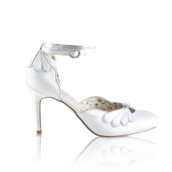 Leona ivory satin bridal court shoe with angel wing detail