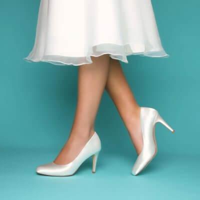 darci satin bridal court shoes
