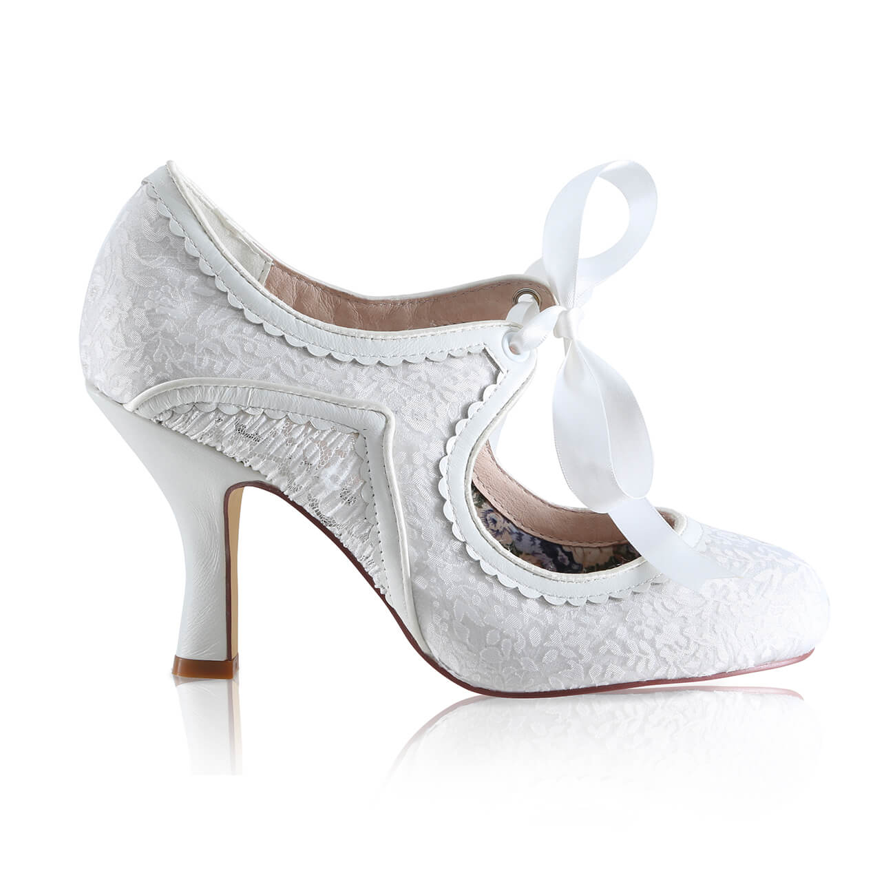 bianca ivory lace bridal shoe boots with leather heels and ribbon tie