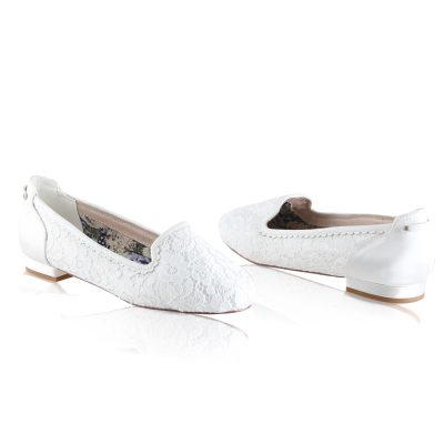 alice lace ivory satin lace overlay bridal slipper shoes