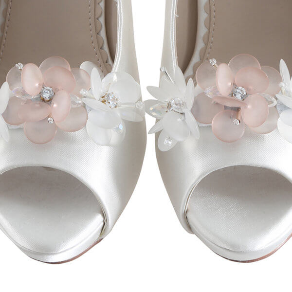 damson tripled blossom glass bead and crystal clip on shoe brooch
