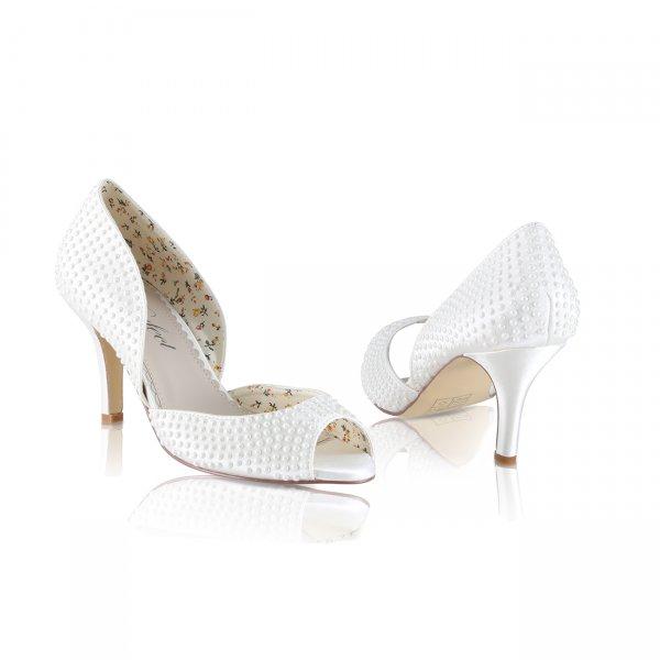 Iris pearl encrusted two pary ivory satin bridal shoe