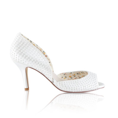 Iris pearl encrusted two pary ivory satin bridal shoe