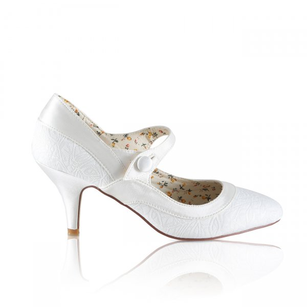 Jasmine ivory tapestry point toe mary jane bridal court shoe