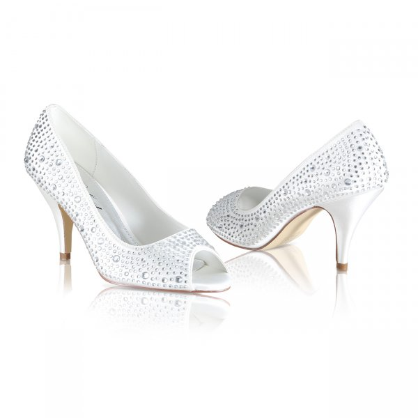 Jenna diamante encrusted peep toe bridal shoes