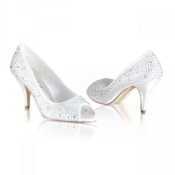 Jenna diamante encrusted peep toe bridal shoes