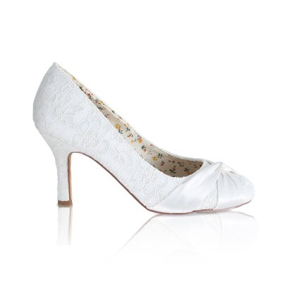 liily ivory lace with satin twist bridal court shoe