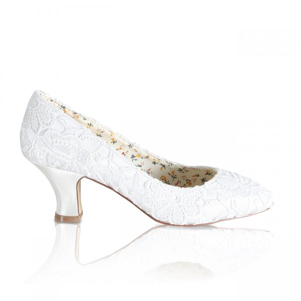 mable ivory lace bridal shoes with almond toe and mid height heel