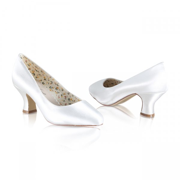 bc63f1d7d mable dyeable ivory satin bridal shoes with almond toe and mid height heel