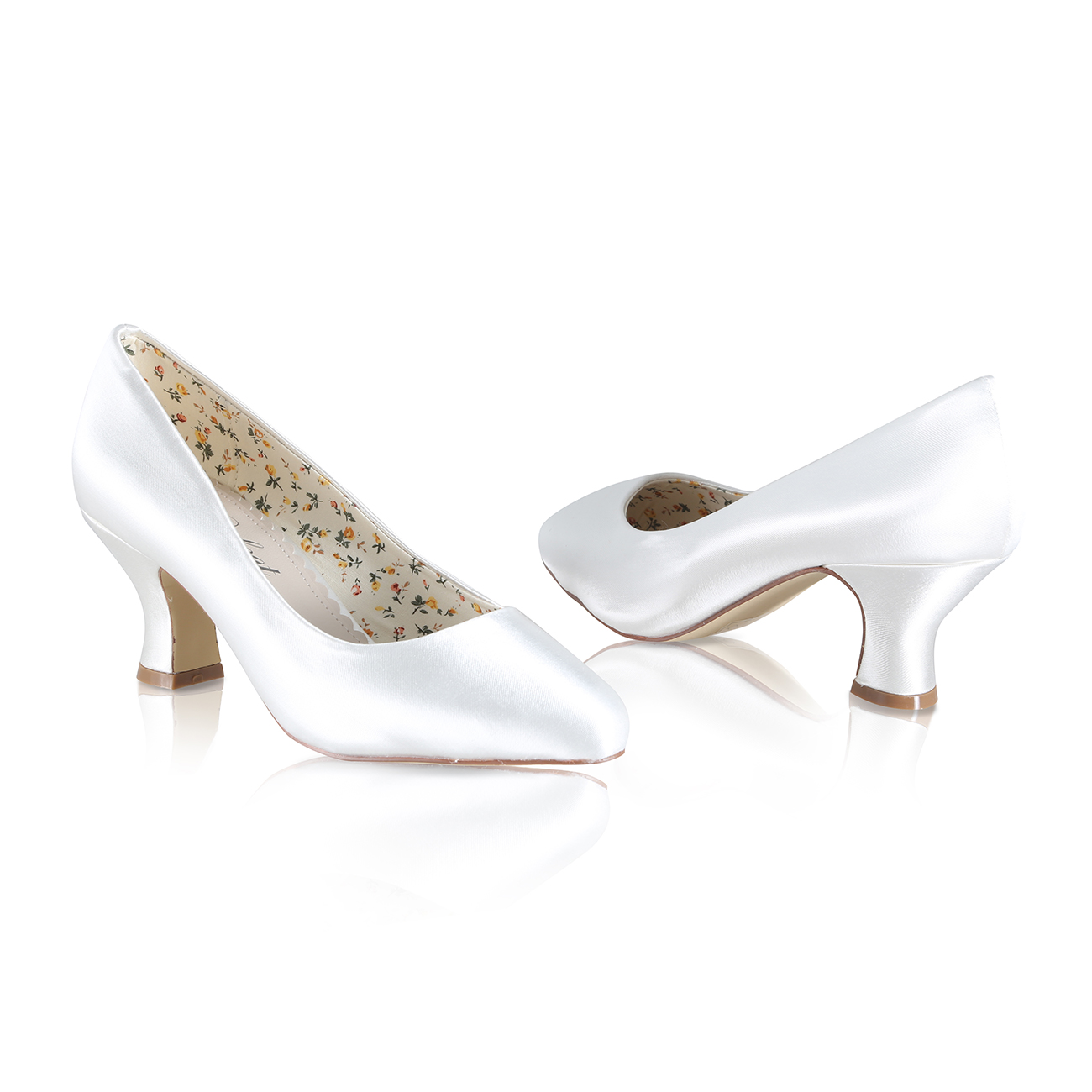 mable dyeable ivory satin bridal shoes with almond toe and mid height heel