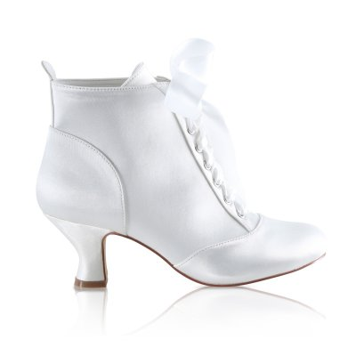 norah bridal ankle boots in satin or leatherette with satin ribbon laces