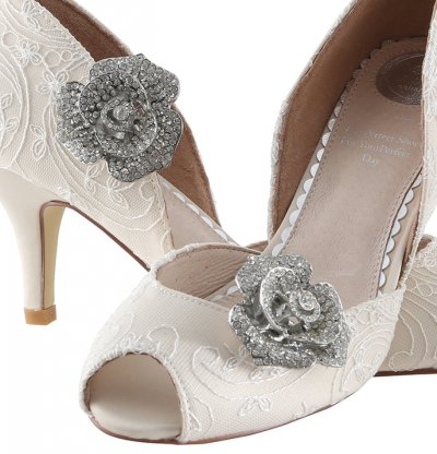 Peach crystal encrusted rose clip on shoe brooch