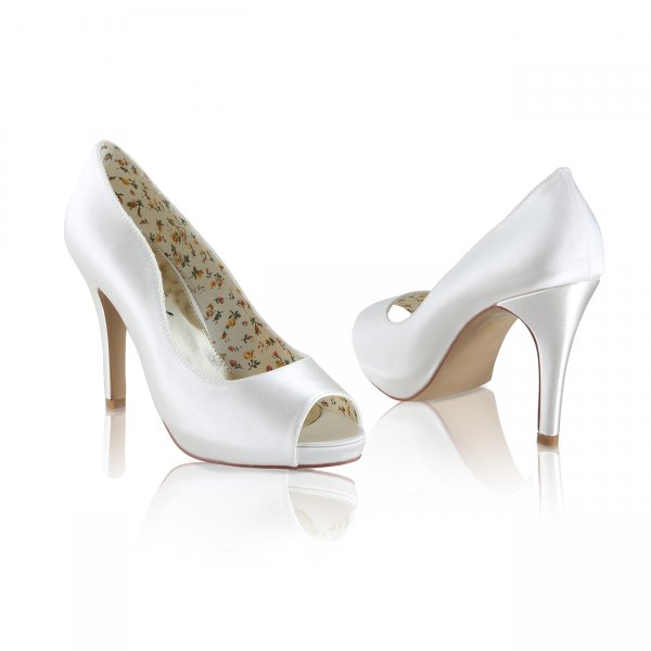 Polly ivory dyeable satin peep toe bridal shoes