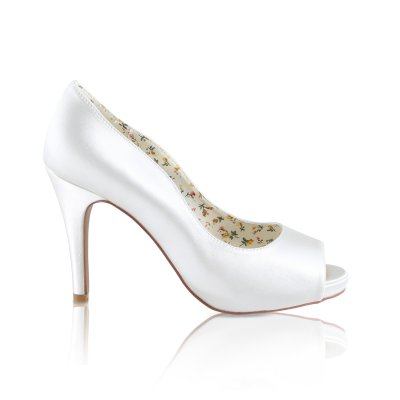 Polly ivory dyeable satin peep toe bridal shoes