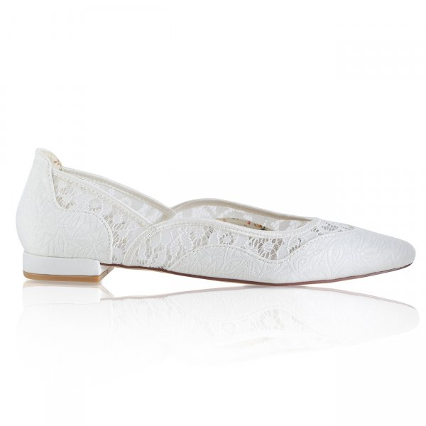 Primrose ivory tapestry flat pointed toe bridal shoe