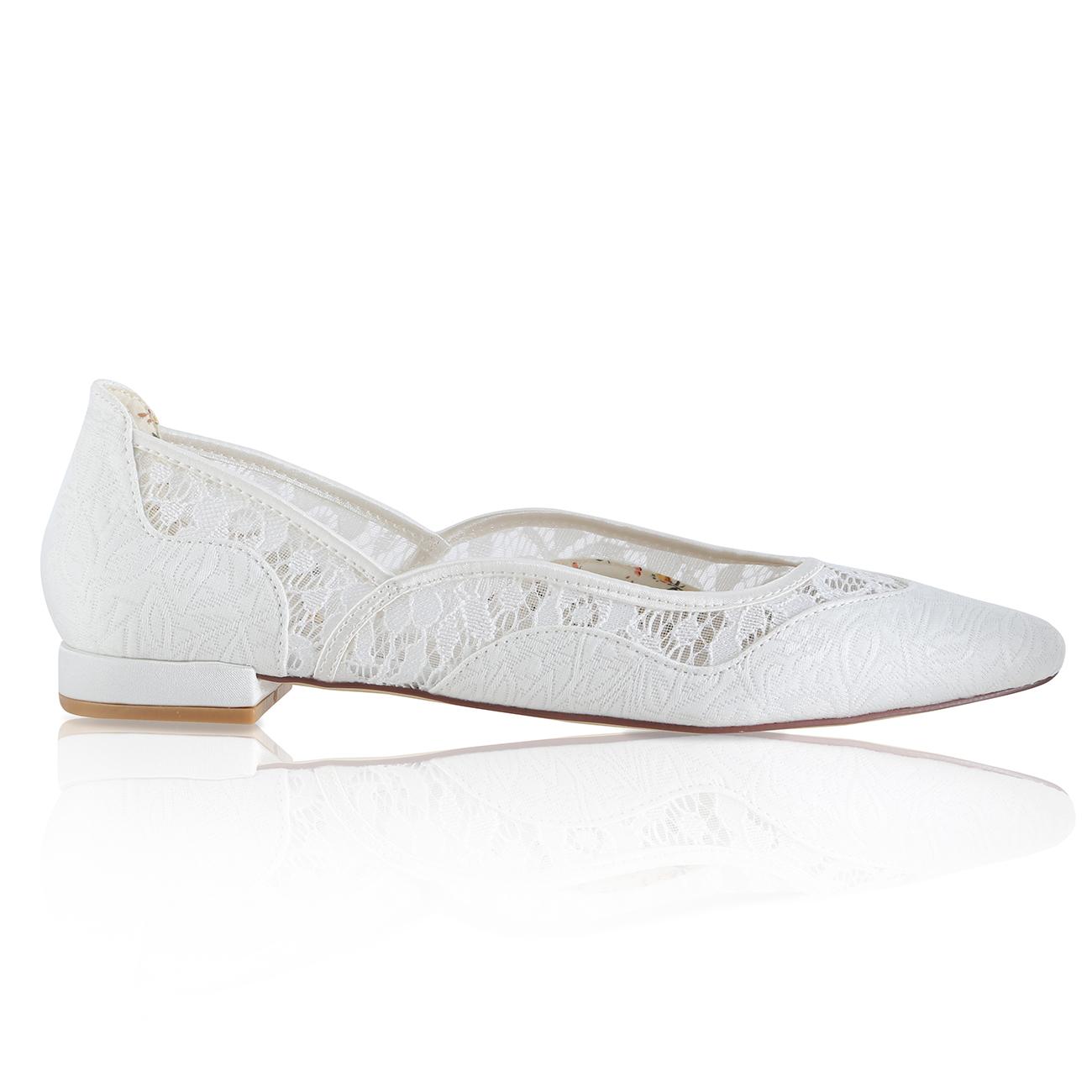 Primrose ivory tapestry flat pointed toe bridal shoe