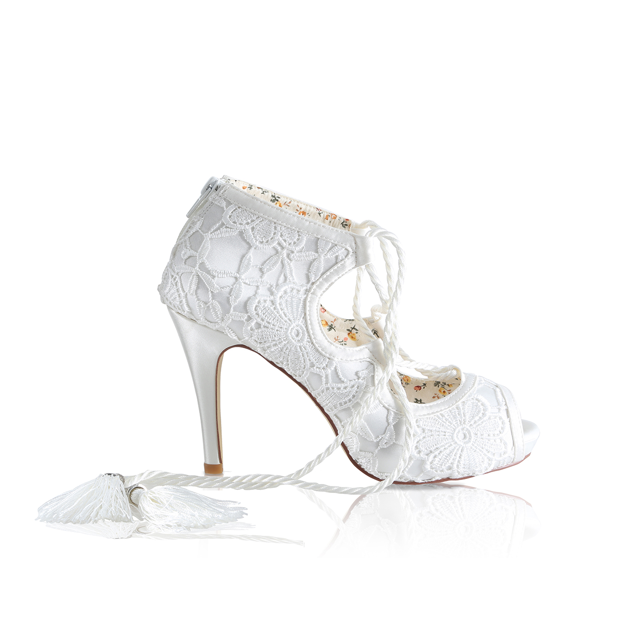 rosa ivory lace high heeled platform bridal shoes with silk rope ghillie ties