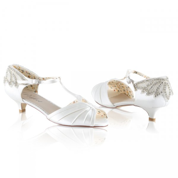 Rosetta art deco styled peep toe kitten heel bridal shoe