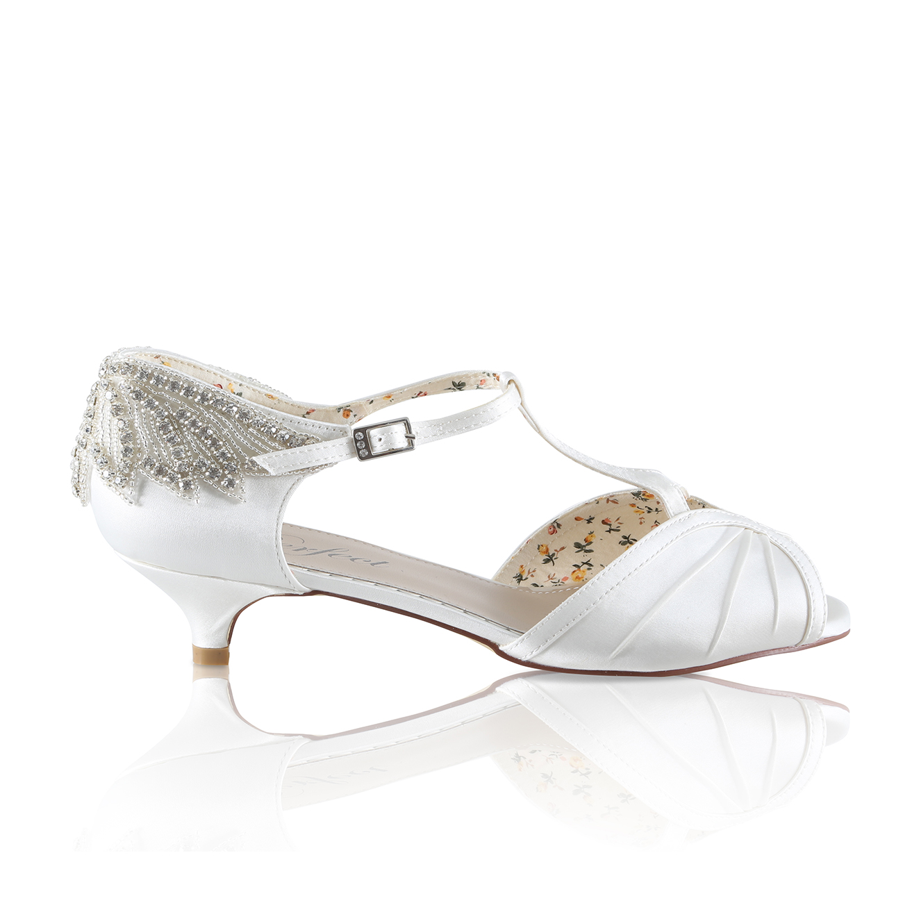 e4f4a5fada8 Rosetta art deco styled peep toe kitten heel bridal shoe