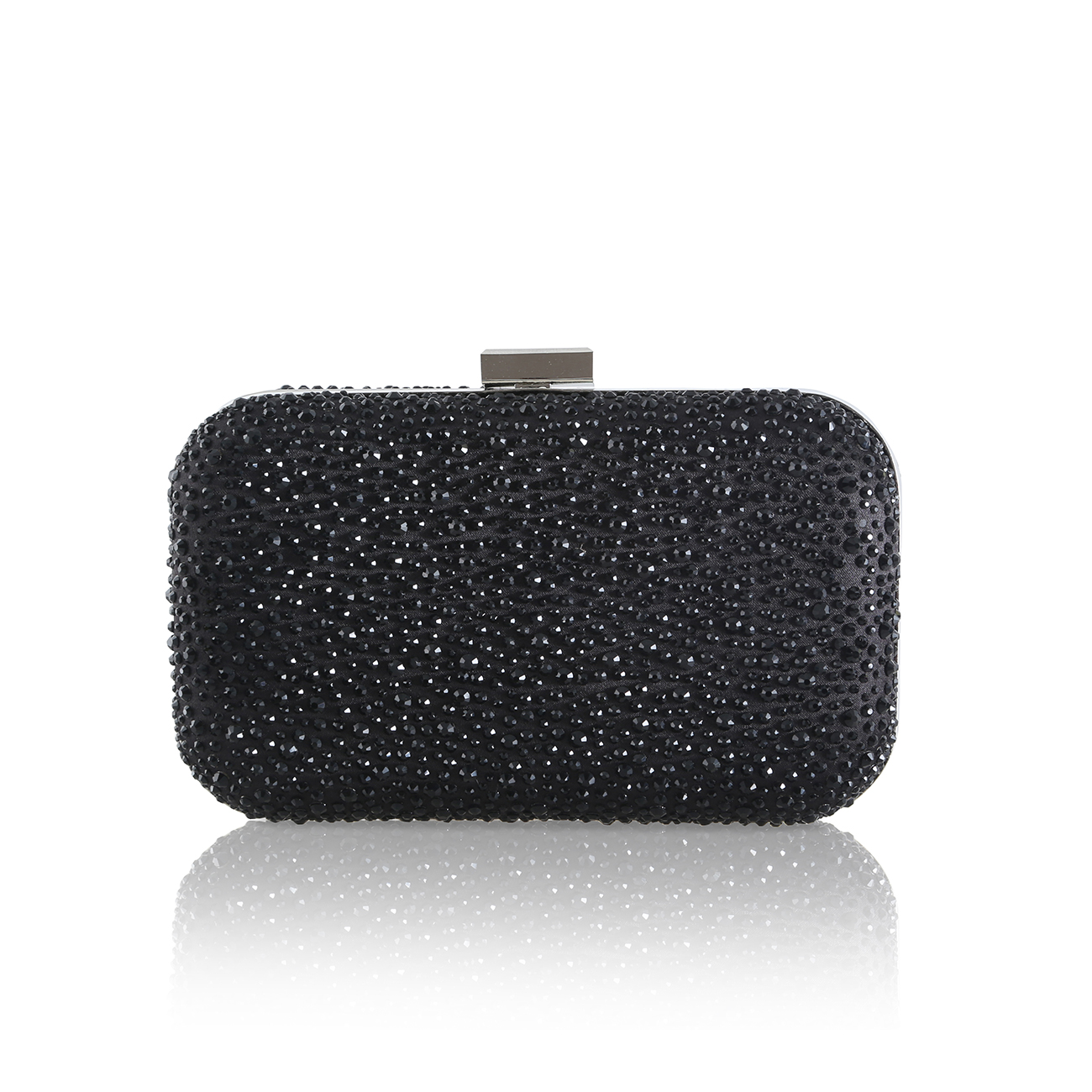 sammy crystal encrusted black clutch bag