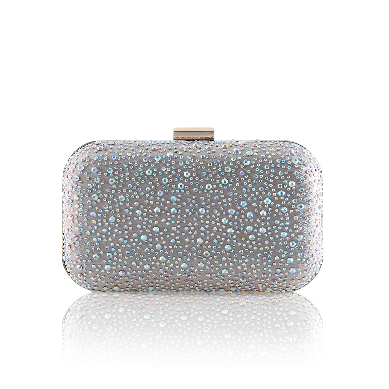 sammy crystal encrusted nude clutch bag
