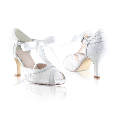 veronica ivory tapestry lace leather bridal shoes with silver trim and satin ribbon tie