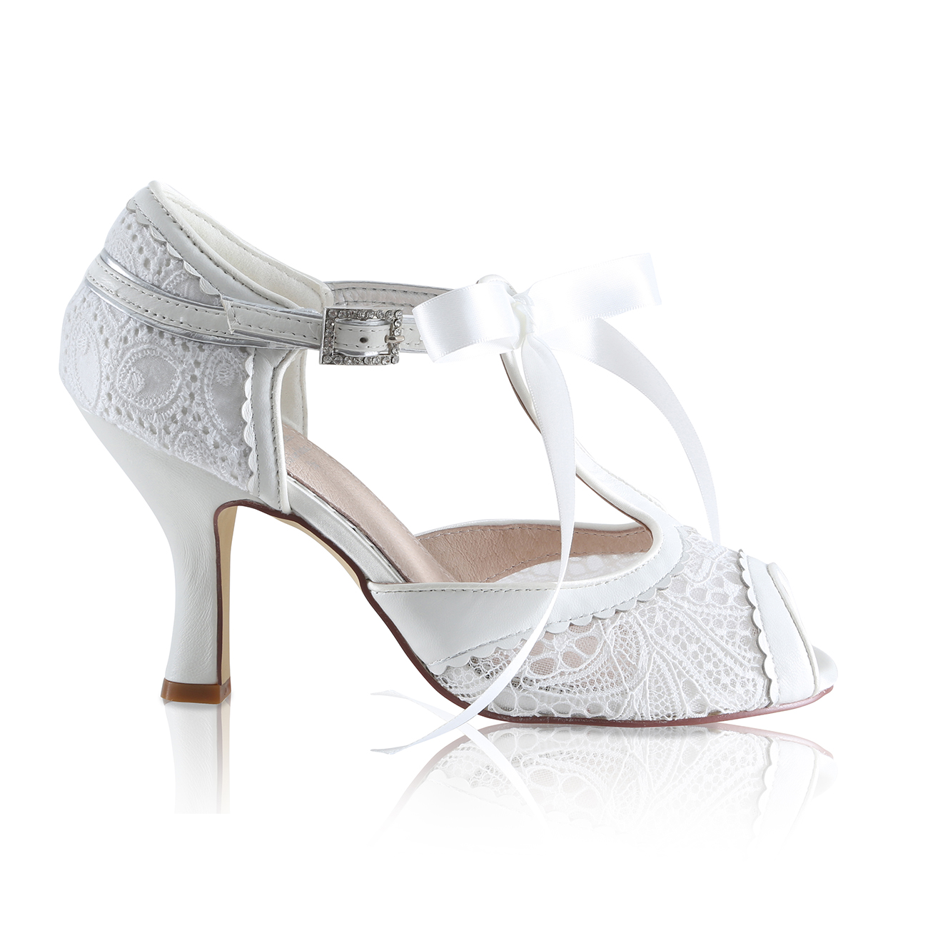 veronica ivory lace tapestry and leather vintage inspired t-bar bridal shoes with satin lace ribbon tie