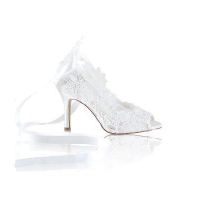 Violet handcrafted ivory lace bridal shoes with ribbon tie