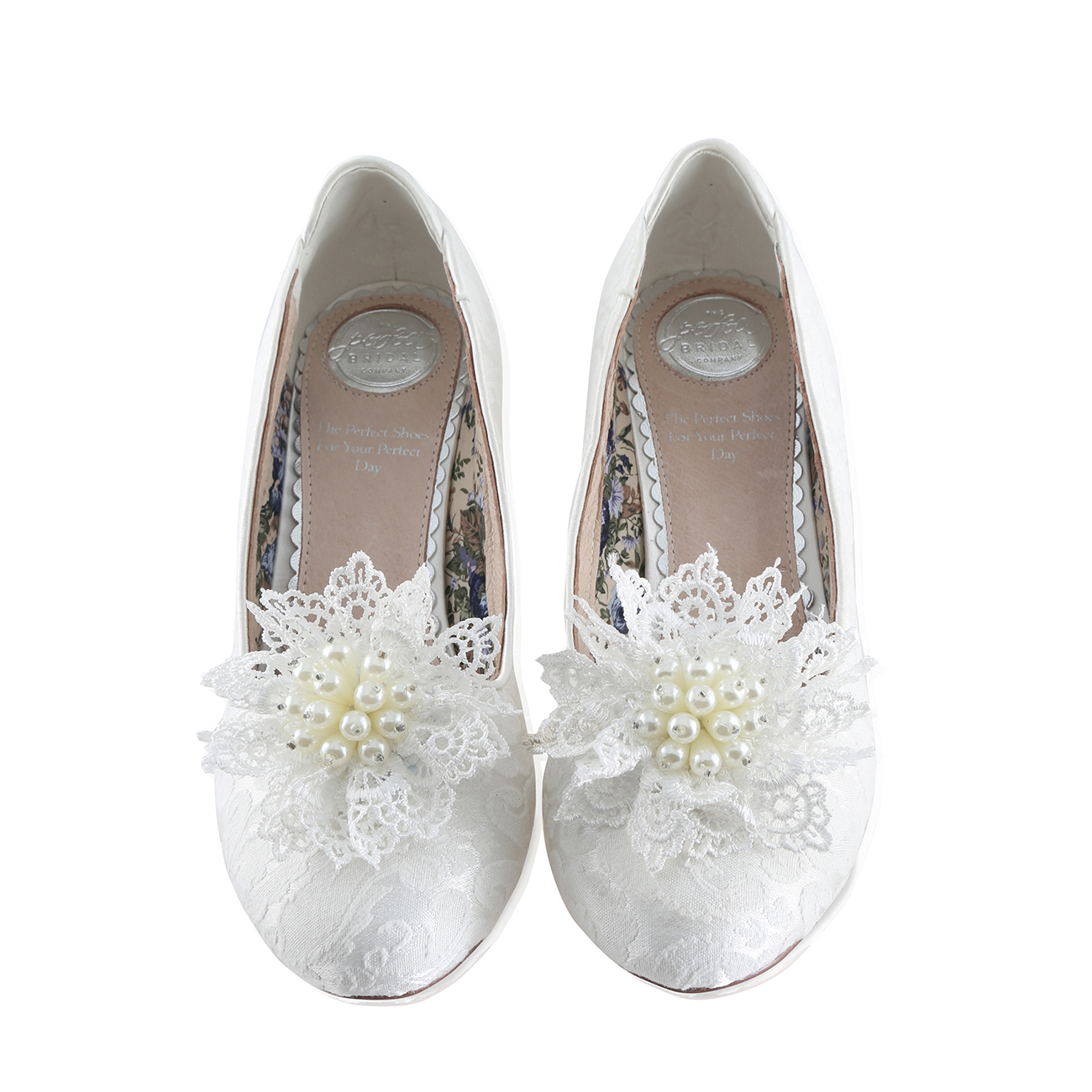 alice ivory brocade bridal slipper with kiwi pearl embellished lace flower clip on shoe brooch
