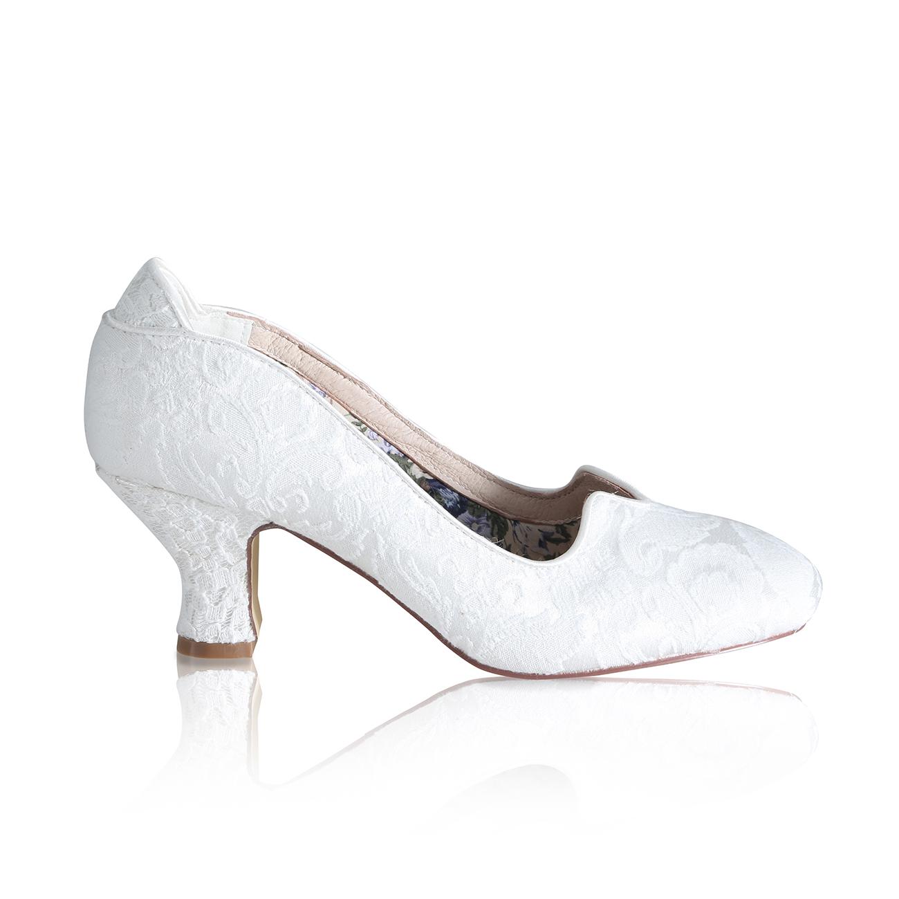 vivian ivory brocade lace vintage bridal court shoe
