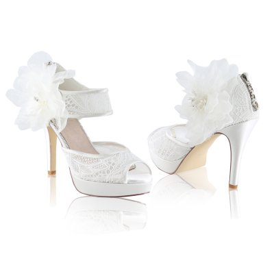 zoey ivory lace two part peep toe high heeled platform bridal shoes with large flower detachable trim