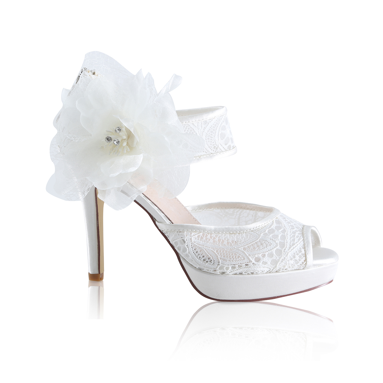 c90fa444e0f3 zoey ivory lace two part peep toe high heeled platform bridal shoes with  large flower detachable