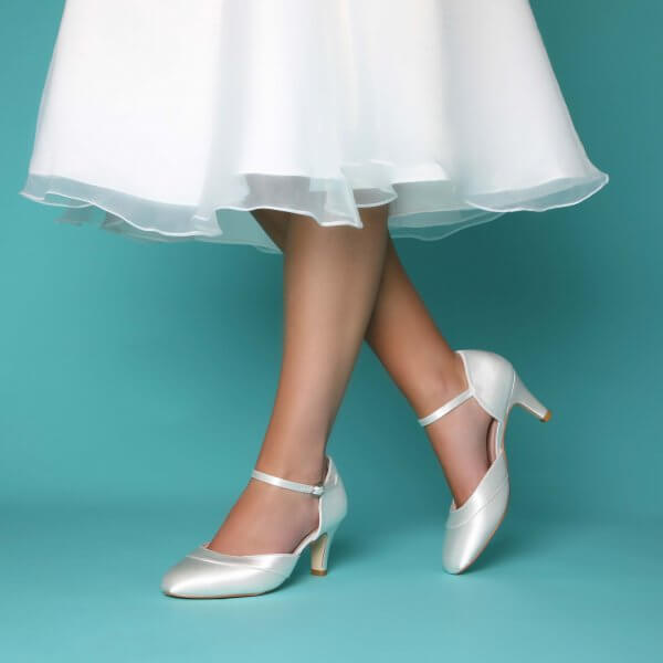 elsa satin two part court with ankle strap