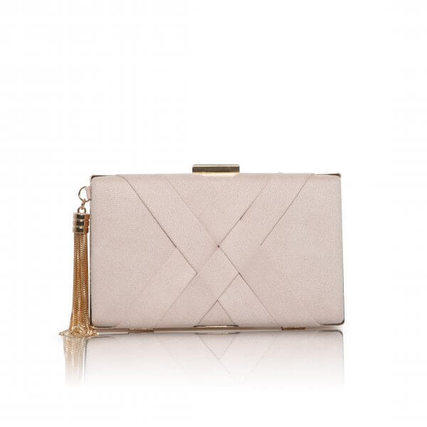 anise blush criss cross ultra suede clutch bag