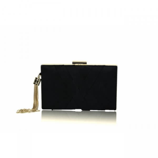 anise ultrasuede black crisscross clutch