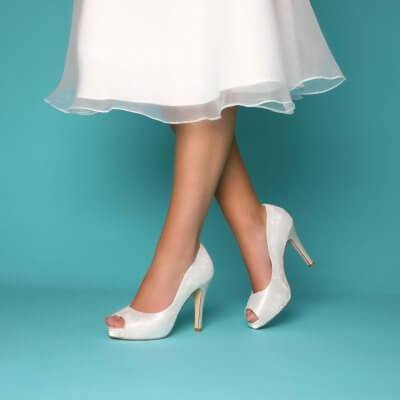 Celia peep toe platform bridal shoes