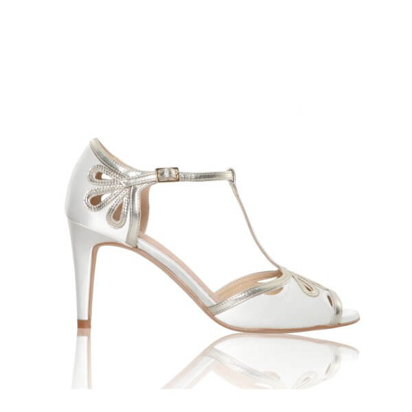 esme dyeable ivory satin and gold bridal sandals