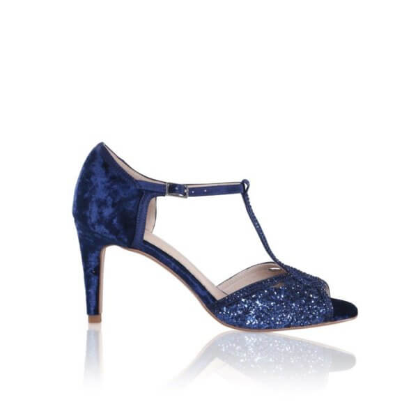 luna navy crushed velvet and glitter heeled sandals