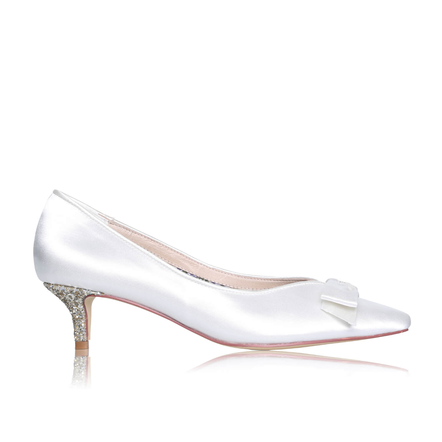 Ivory Bridal Court Shoes Satin /& Leather Pastel Shades Fan Detail Perfect Bridal