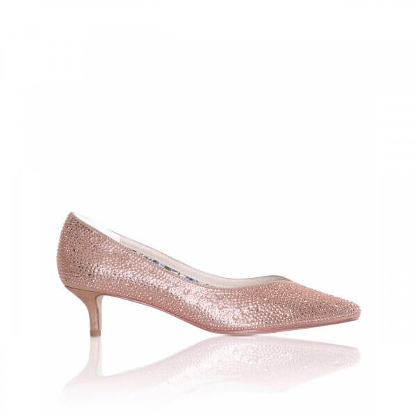 stella rose gold crystal encrusted kitten heel court shoe