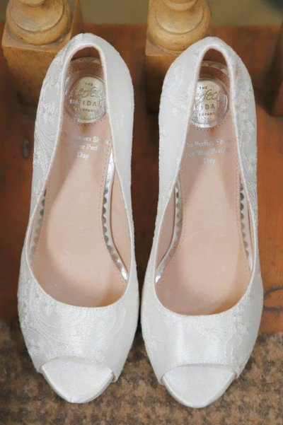Celia dyeable satin and lace platform bridal shoes