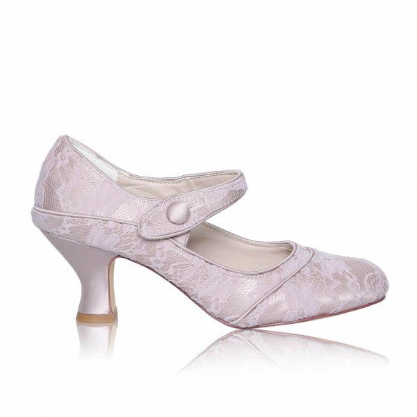 nude lace mary jane court shoe