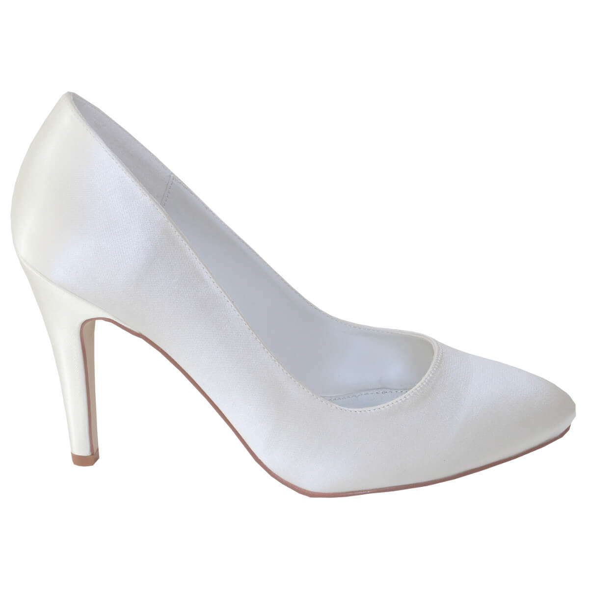 526ae2e1d40 Mia. £54.00 £15.00. Mia is a stunningly simple classic bridal court shoe  crafted in ivory satin with a delicate high heel and elegant almond point  toe.
