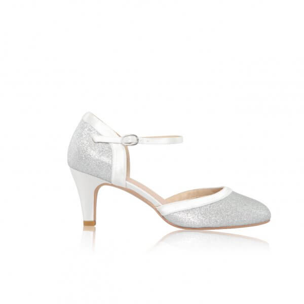 anna silver shimmer fabric two part bridal shoes