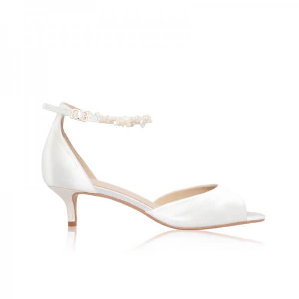 amber keshi pearl strap peep toe bridal shoes