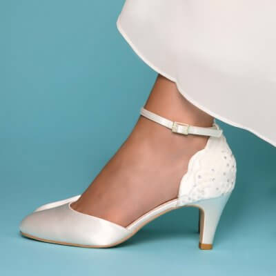 Clara ivory dyeable satin and sequin lace bridal shoes