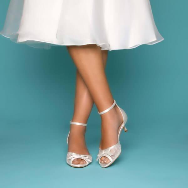 eadie low heel wedding shoes spot mesh and satin