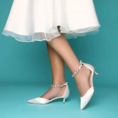 eliza dyeable low heel wedding shoes